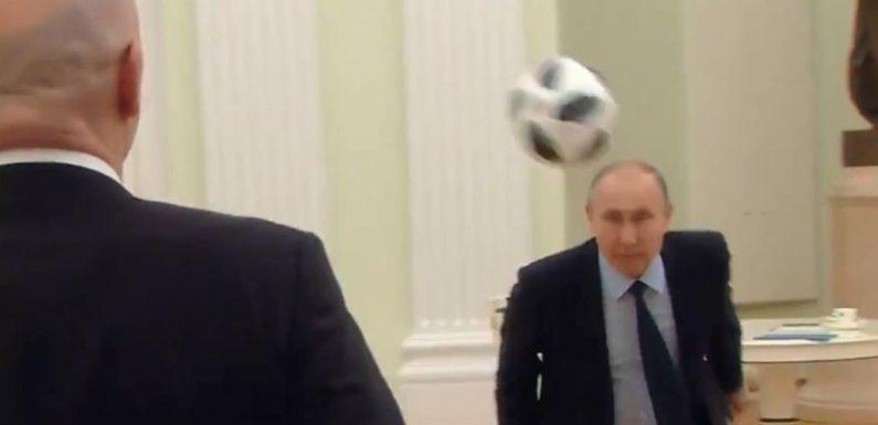 Смотреть официальный ролик к ЧМ-2018, где Путин и Инфантино играют в футбол